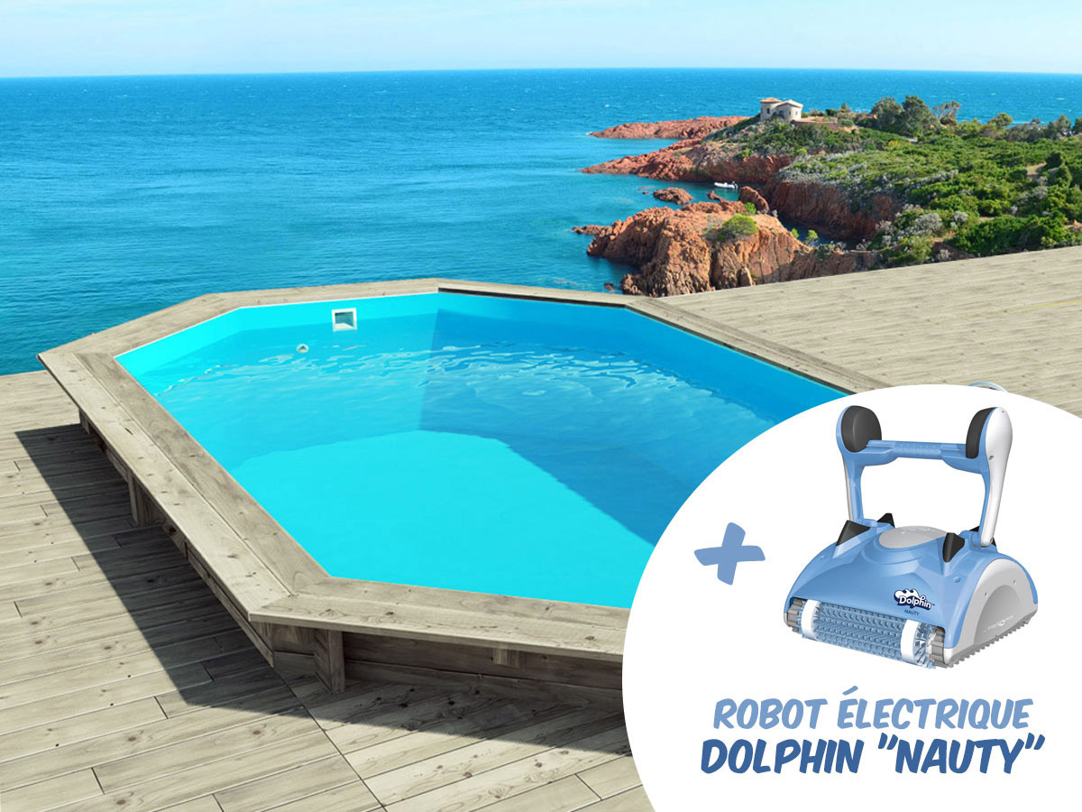 robot piscine bois