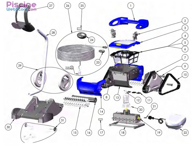 robot piscine zodiac pieces detachees