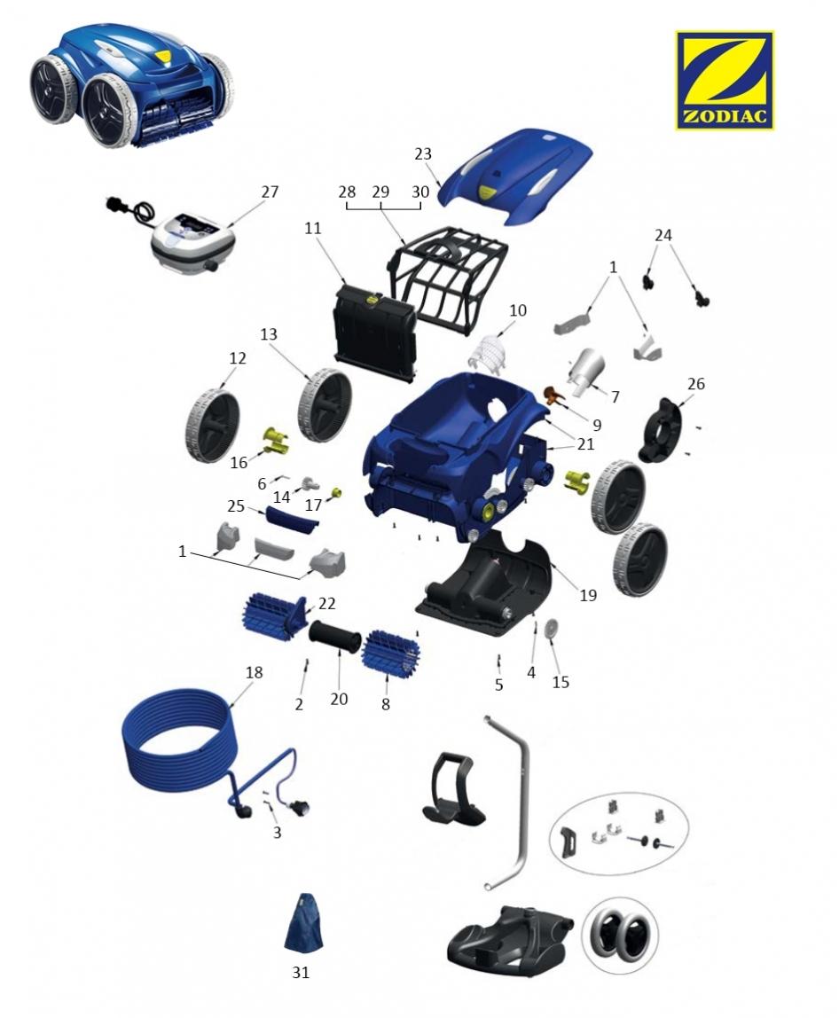 robot piscine zodiac vortex 3 4wd